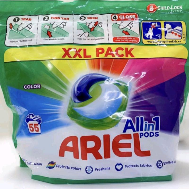 Капсули для прання кольорових речей Ariel 55 капсул