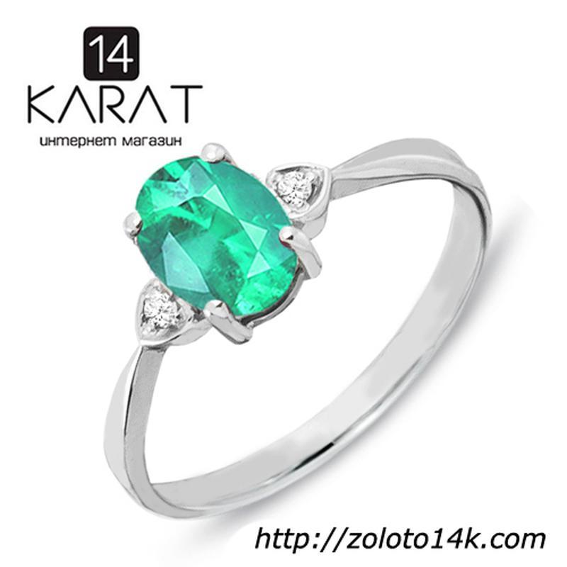 Золотое кольцо с изумрудом и бриллиантами 0,03 карат 16,5 мм.