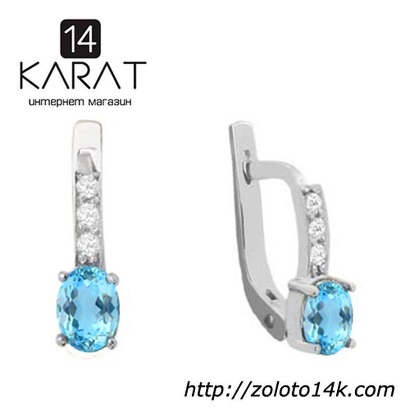Золотые серьги с натуральными голубыми топазами и бриллиантами