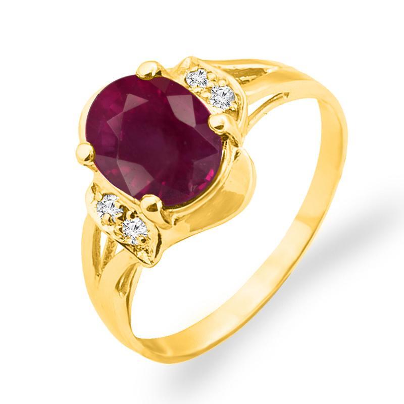 Золотое кольцо с рубином 3 карата и бриллиантами 17,5 мм. Желтое
