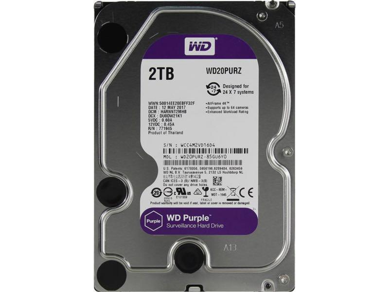 Жёсткий диск Western Digital Purple 2TB 64MB 5400rpm WD20PURZ 3.5