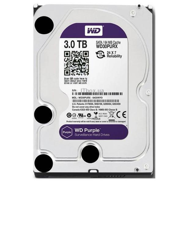 Жёсткий диск Western Digital Purple 3TB 64MB 5400rpm WD30PURZ 3.