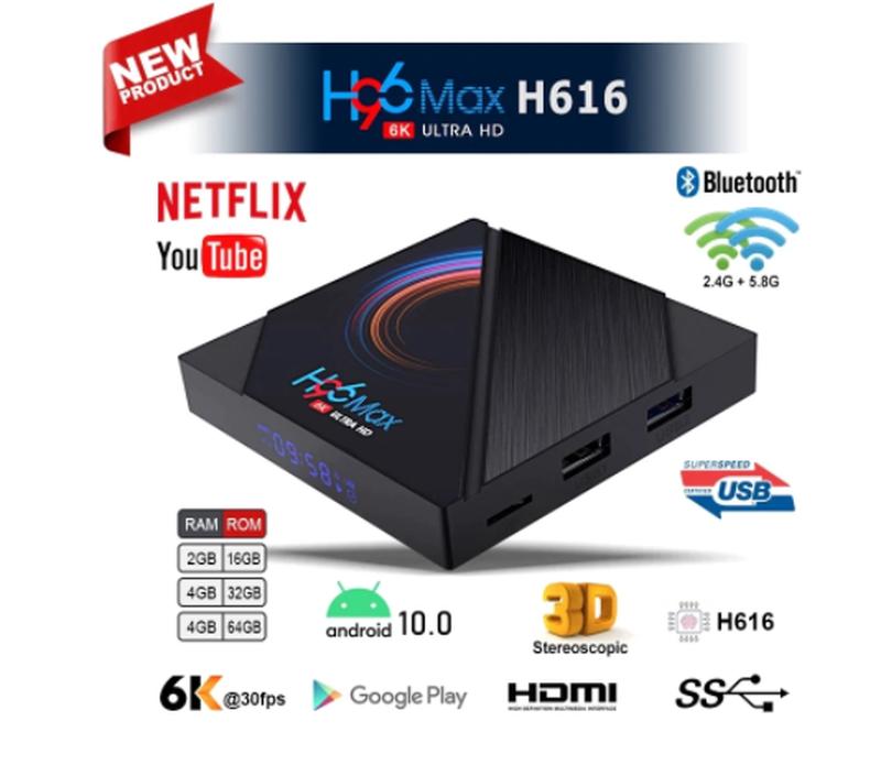 Смарт приставка TV Box H96 Max 4/32Gb Android 10.0.Allwinner H616