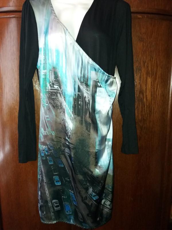 Прямое платье принт-вечерний  город - имитация  запаха-jeans g...