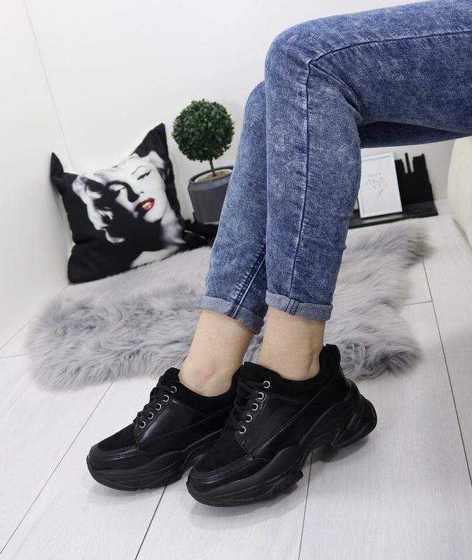 Новые шикарные женские черные кроссовки - Фото 4