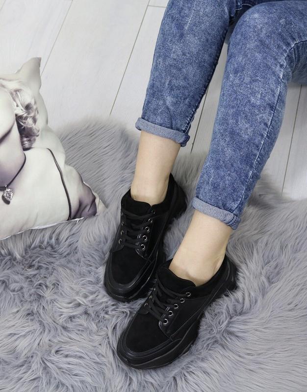 Новые шикарные женские черные кроссовки - Фото 5