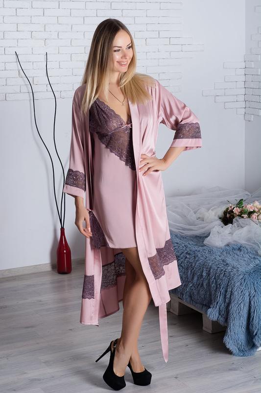 Кружевной комплект для дома и сна (халат + ночная рубашка)
