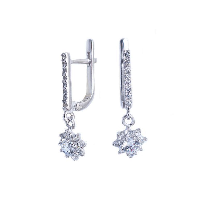 Серебряные серьги-подвесы «мини малинка»