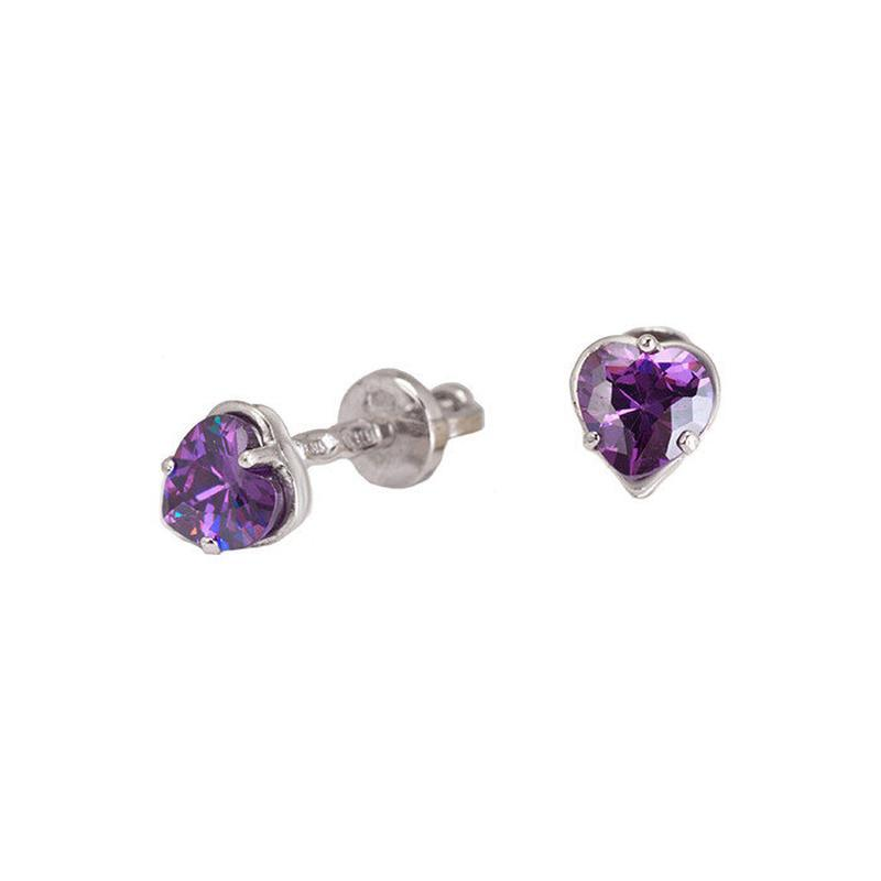 Серебряные серьги-пуссеты «сердечко» с аметистом