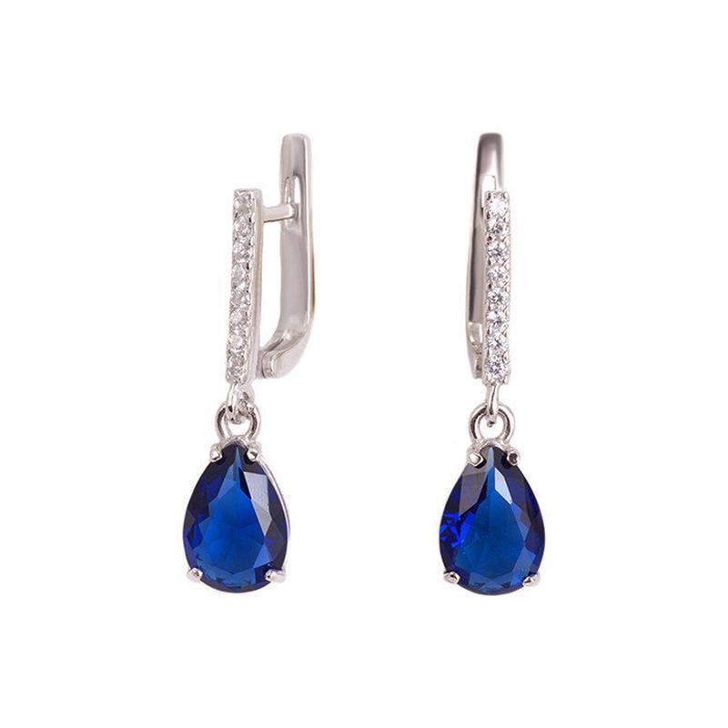 Серебряные серьги с подвесой из синего сапфира «магия»