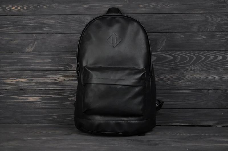 Рюкзак городской кожанный мужской, женский черный
