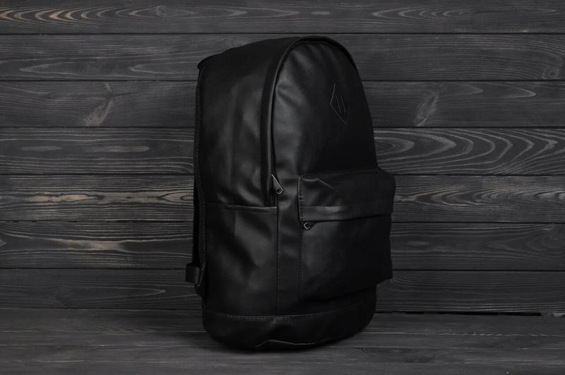 Рюкзак городской кожанный мужской, женский черный - Фото 2