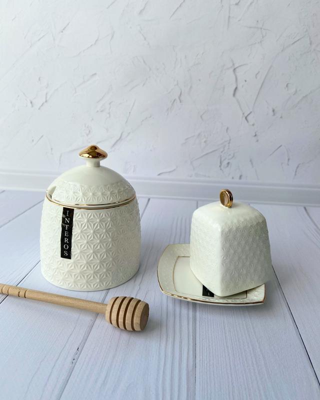 Фарфоровая коллекция медовница и лимонница