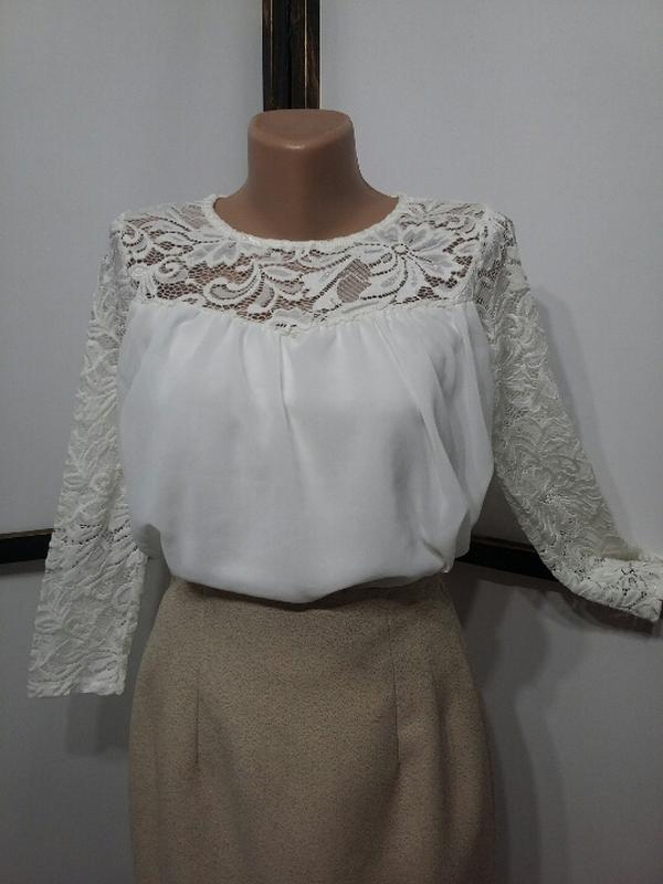 Белая итальянская шифоновая блуза с кружевом