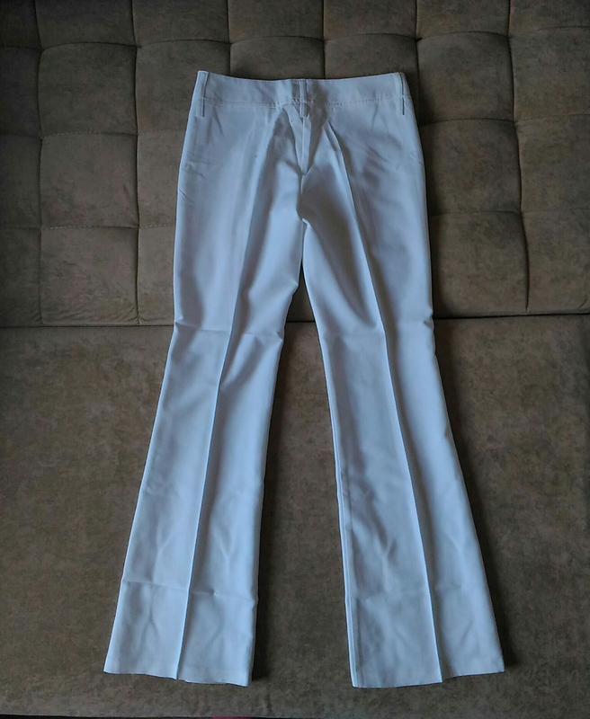 Летние белоснежно-белые брюки клёш top girl размер m