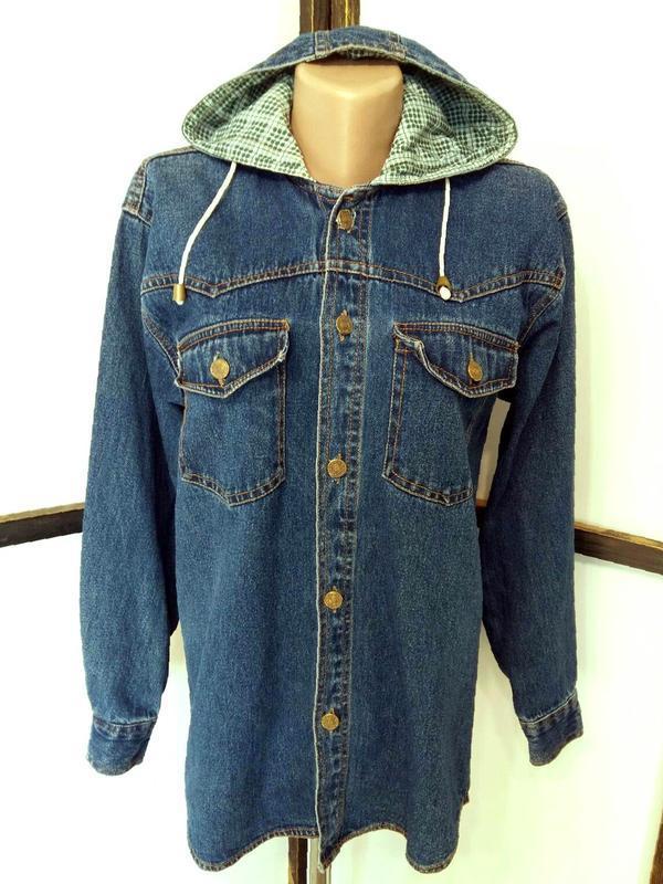Джинсовая рубашка куртка джинсовка с капюшоном винтажная бренд...