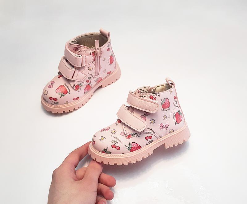 Детские демисезонные ботинки для девочки розовые clibee