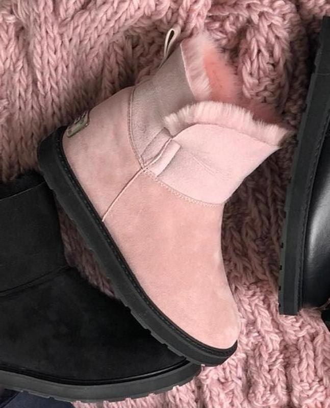 Кожанные угги розовые натуральная замша размеры 33-43