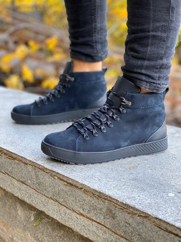 Мужские ботинки на меху натуральный нубук синие