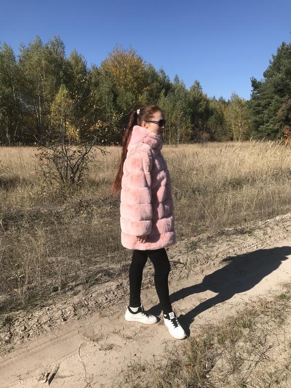 Шуба пудовый цвет нежно розовая кролик рекс
