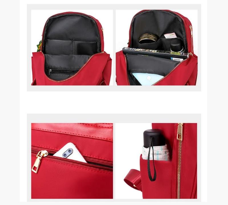 Рюкзак женский городской черный нейлоновая ткань - Фото 3