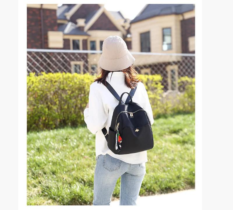 Рюкзак женский городской черный нейлоновая ткань - Фото 4