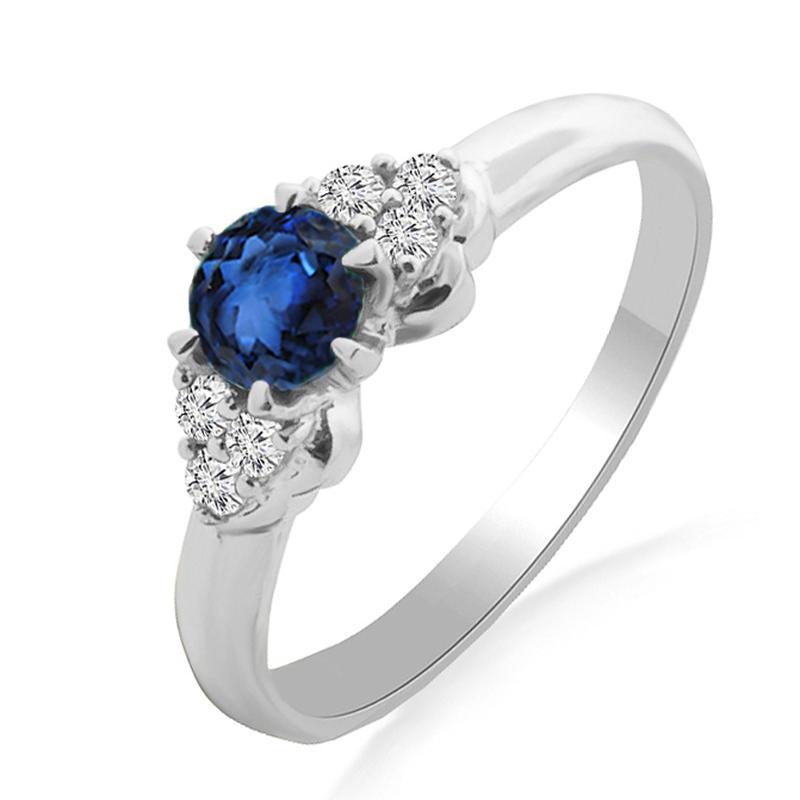 Золотое кольцо с сапфиром и бриллиантами 0,08 карат 17 мм. Белое