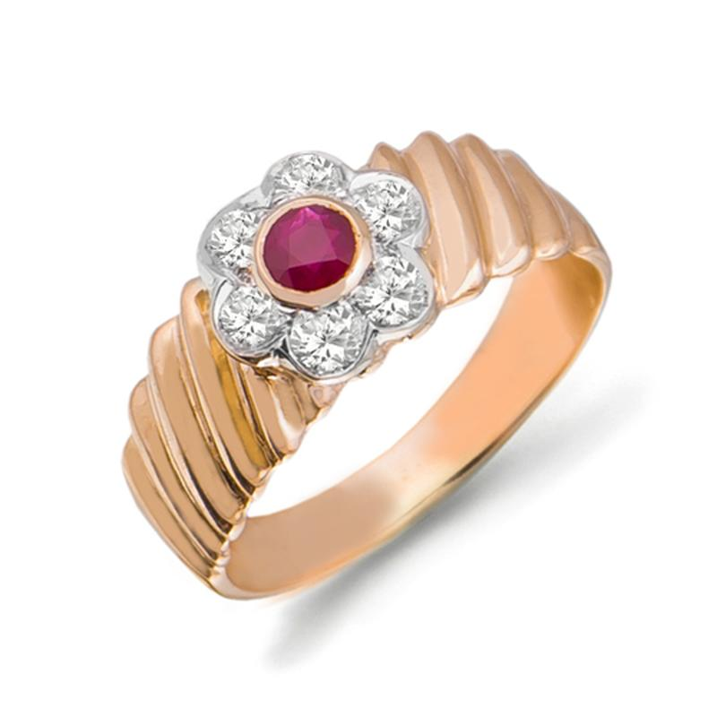 Золотое кольцо с рубином и бриллиантами 0,36 карат 17,5 мм