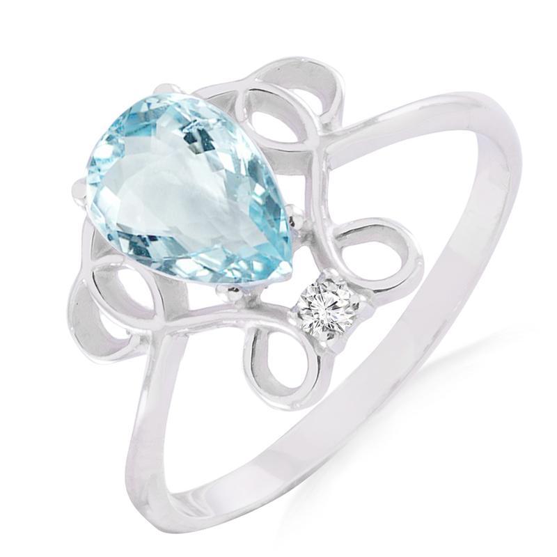 Золотое кольцо с аквамарином и бриллиантом 0,02 карат Белое