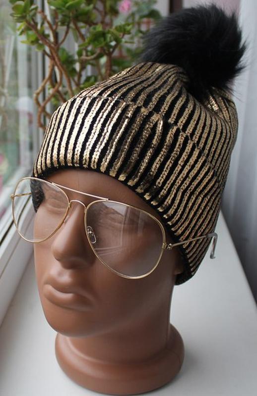 Новая стильная золотистая шапочка, металлик