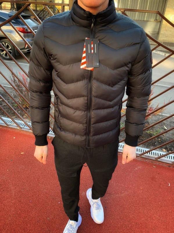 Топовый мужской теплый пуховик куртка чёрный - Фото 2