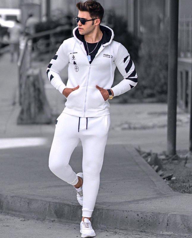 Топовый мужской теплый спортивный костюм reebok с капюшоном белый
