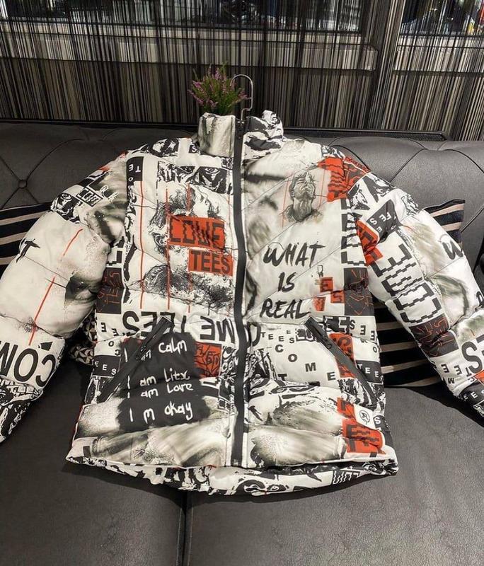 Стильная мужская зимняя куртка пуховик с крутым принтом - Фото 4