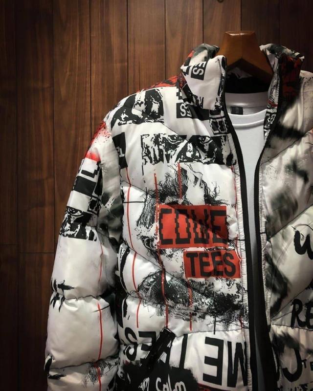 Стильная мужская зимняя куртка пуховик с крутым принтом - Фото 5