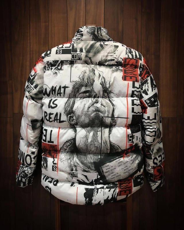 Стильная мужская зимняя куртка пуховик с крутым принтом - Фото 6