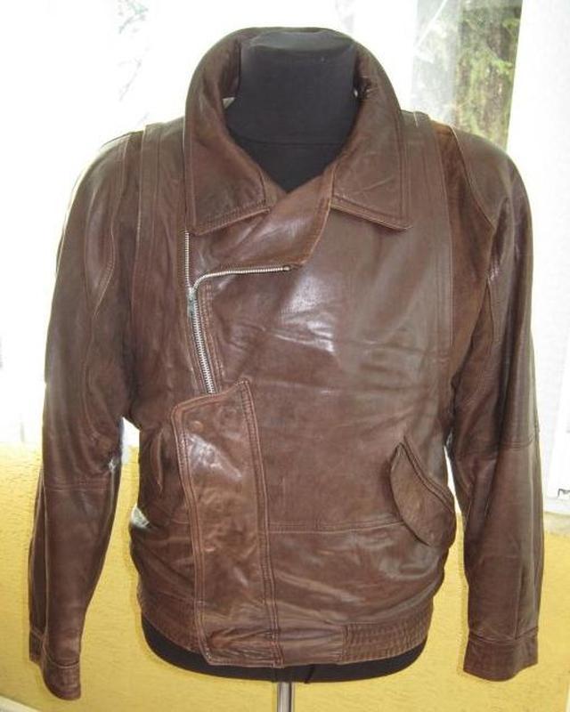 Большая классная мужская кожаная куртка - косуха. англия. лот 569