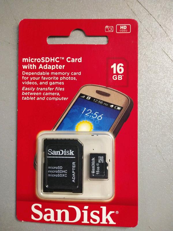 Карта памяти SANDISK microSDHC 16GB  Class 10 UHS-I + SD