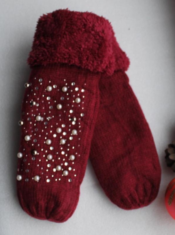 Новые стильные варежки с бусинами, темно-красные