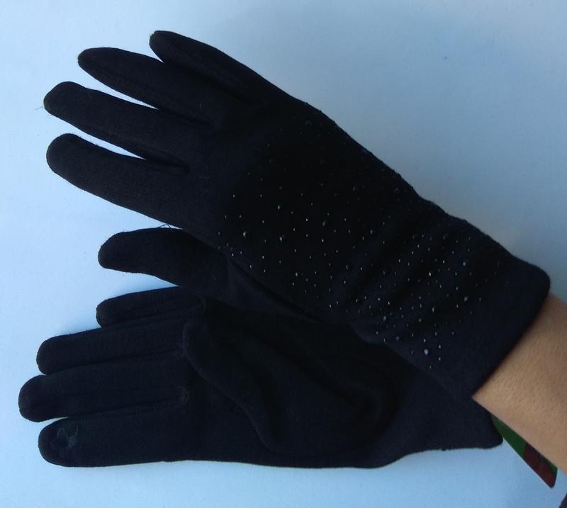 Новые стильные перчатки на флисе, со стразами, сенсорные, темн...