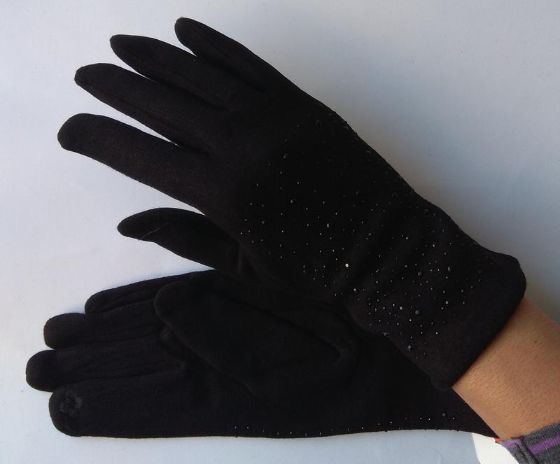 Новые стильные перчатки на флисе, со стразами, сенсорные, черные