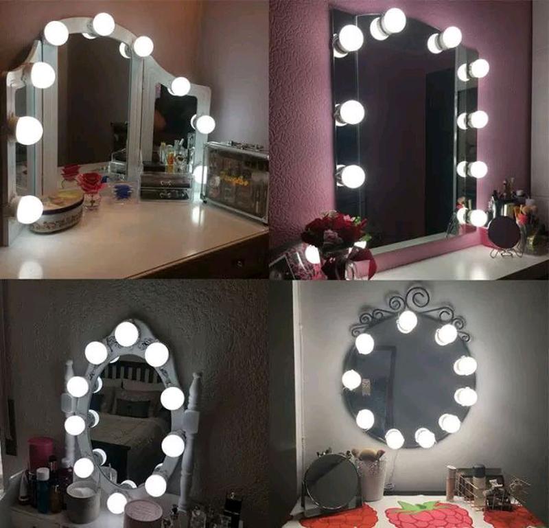 Подсветка белая для зеркала с регулировкой яркости для макияжа