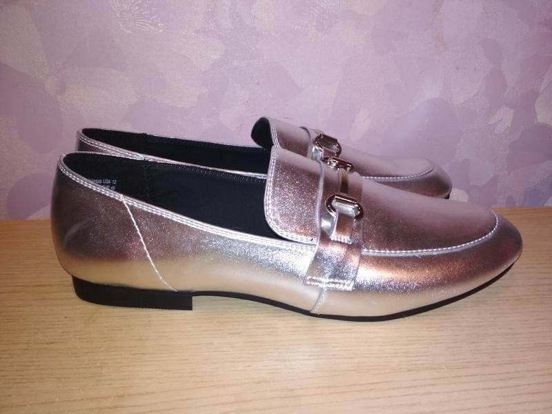 Туфли - лоферы 43-44 р серебряного цвета из сша