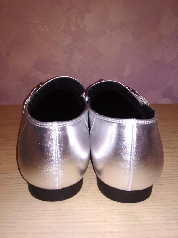 Туфли - лоферы 43-44 р серебряного цвета из сша - Фото 2
