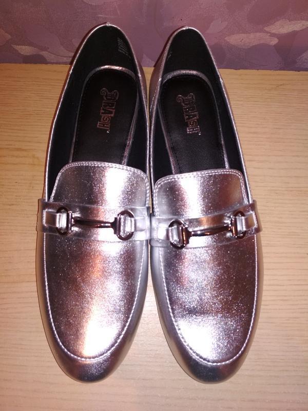 Туфли - лоферы 43-44 р серебряного цвета из сша - Фото 3
