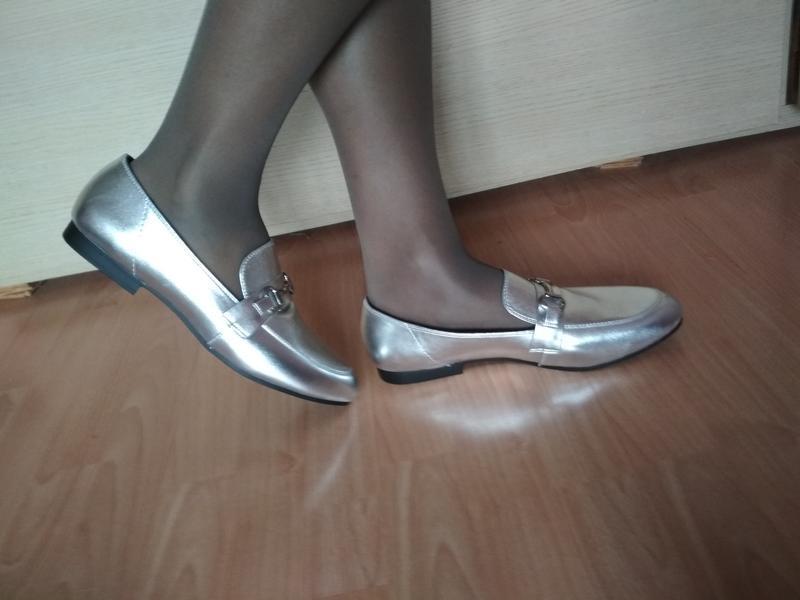Туфли - лоферы 43-44 р серебряного цвета из сша - Фото 4