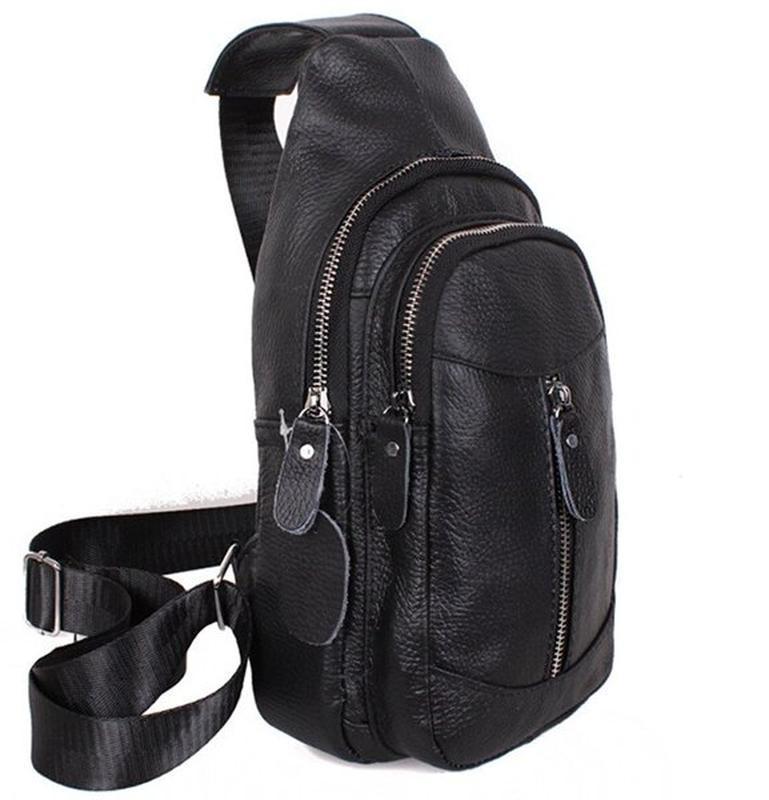 Кожаная мужская сумка черная через плечо рюкзак 31х18 кд318 bl...