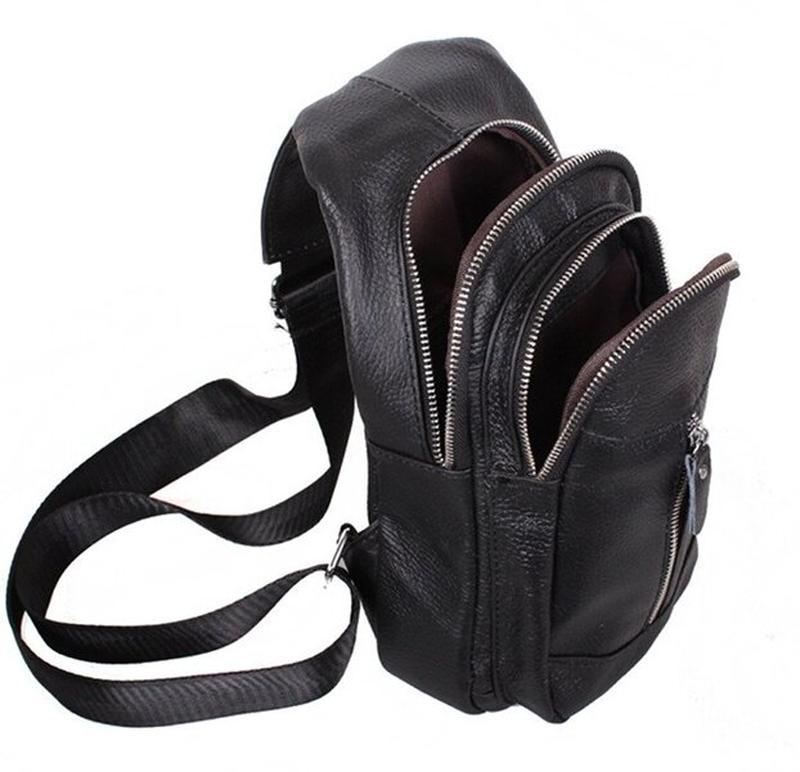 Кожаная мужская сумка черная через плечо рюкзак 31х18 кд318 bl... - Фото 2