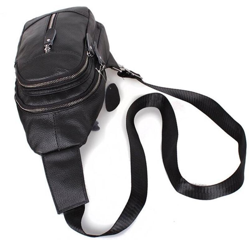 Кожаная мужская сумка черная через плечо рюкзак 31х18 кд318 bl... - Фото 4