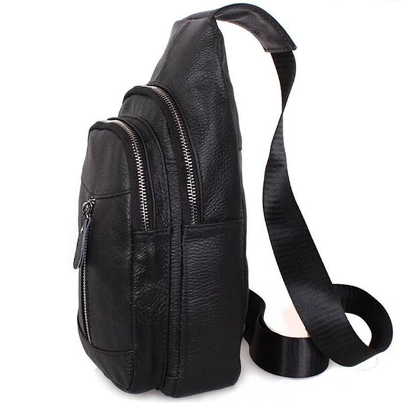 Кожаная мужская сумка черная через плечо рюкзак 31х18 кд318 bl... - Фото 5