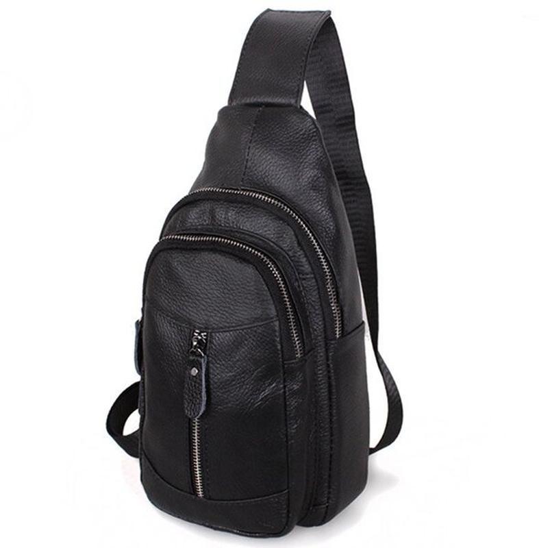 Кожаная мужская сумка черная через плечо рюкзак 31х18 кд318 bl... - Фото 6